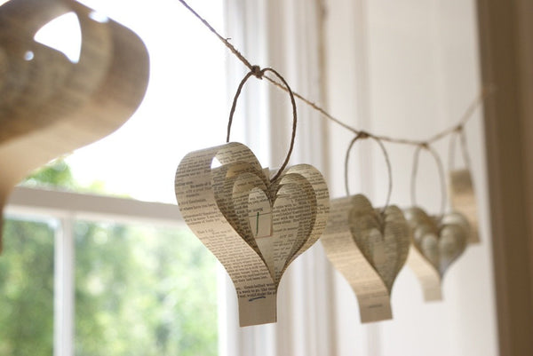 Rustic Wedding Garland, Unique Book Decorations, Cream, Beige Paper Hearts