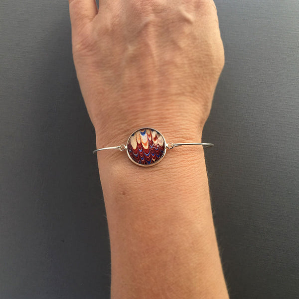 Minimal Silver Bracelet, Marbled Paper, Unique Red Bangle