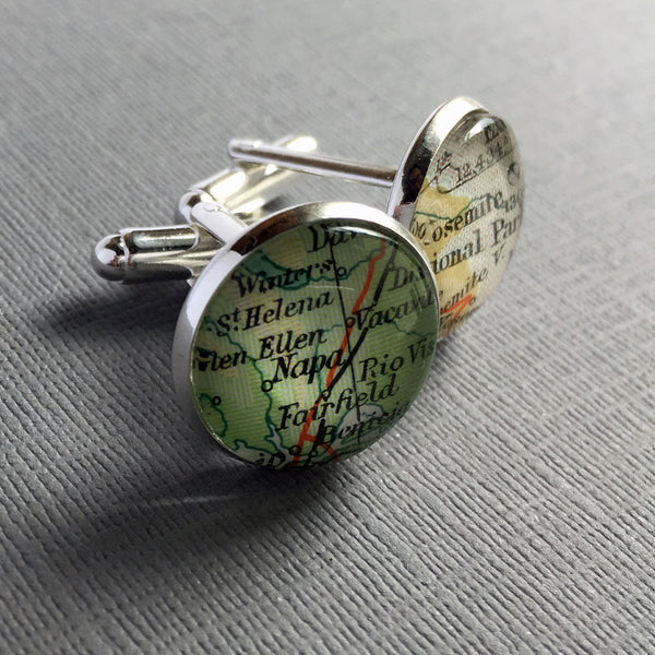 Cartography Cufflinks, Copper Anniversary Gift Cuff Links