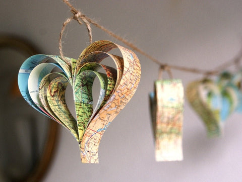 Wedding Decorations, Rustic Garland, Hearts, Journey or Travel