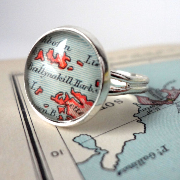 Silver Ring for Women, Adjustable, Personalized with Custom Placename Map