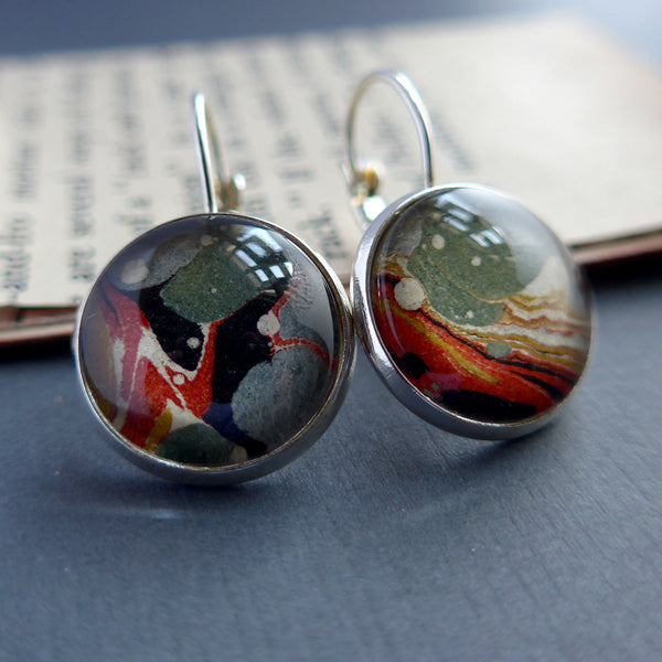 Silver Earrings with Earth Tone Antique Book Marbled Swirl Pattern Paper