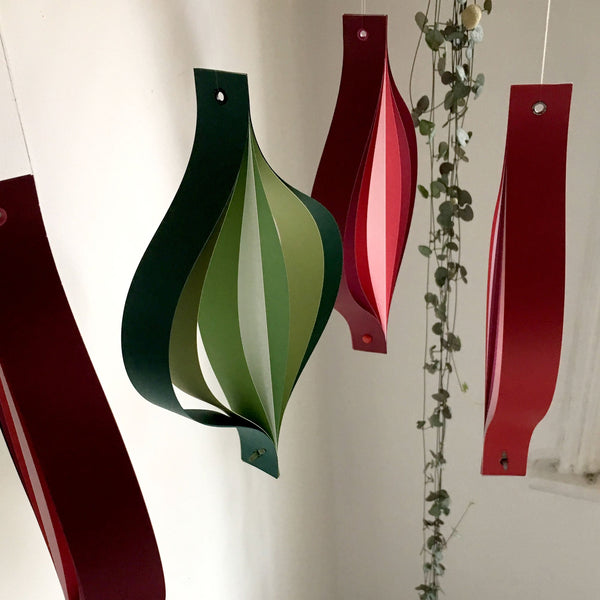 Red Green & White Christmas Decorations, Eames Style, Large Paper Hanging Ornaments, Home Accents, Spinning Ornaments