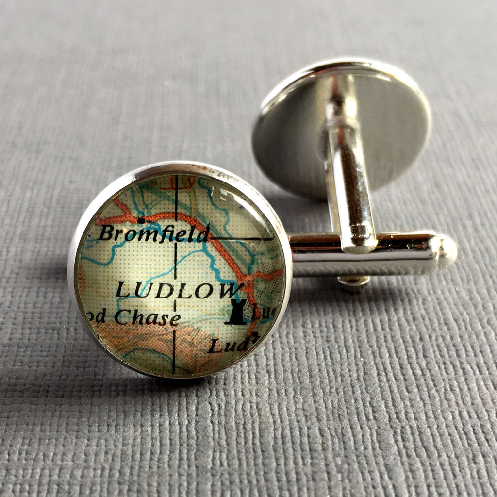 Retirement Gift for Men, Cuff Links, Personalized Silver Cufflinks, Map Cufflinks