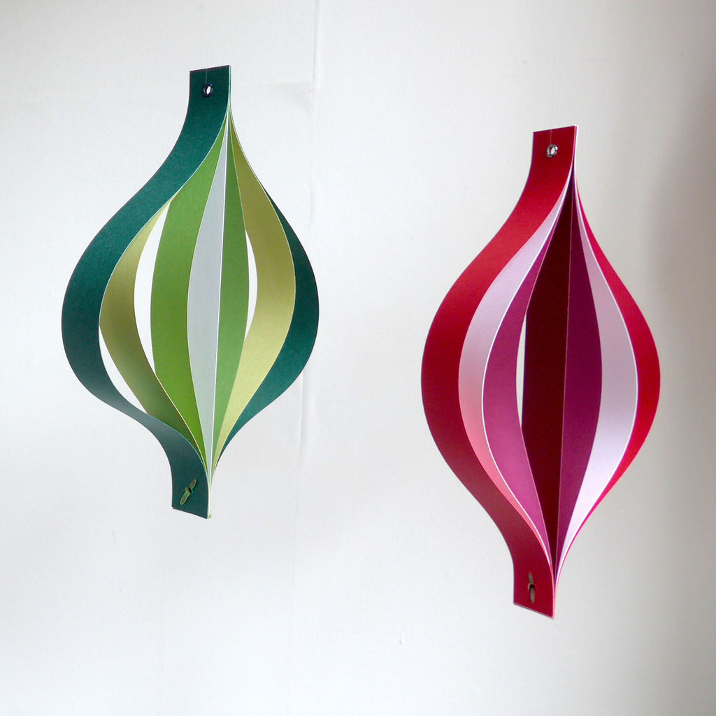 Paper Christmas Decorations, Large Red White and Green Hanging Ornaments, Geometric Scandi Chic
