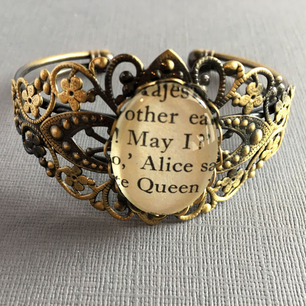 Book Cuff Alice in Wonderland Bronze Ornate Bangle