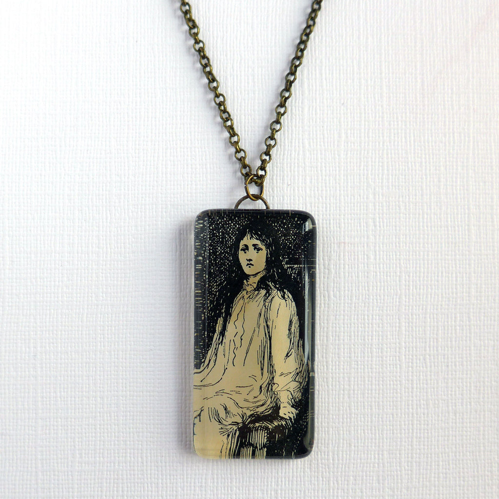 Large Glass Pendant, Vintage Black and White Illustration, Gothic Novel Necklace