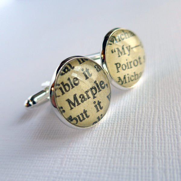 Agatha Christie Cuff Links, Hercule Poirot and Miss Marple, Book Cufflinks