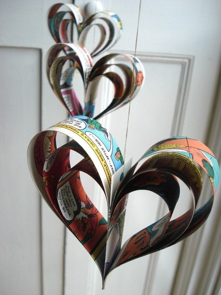 Superhero Party Decorations, Comic Book Geekery, Paper Hearts