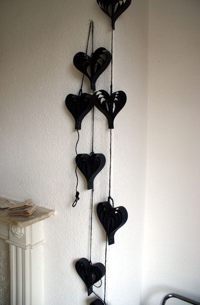 Black Garland, Party Decorations, Monochrome Decor, Garland, Hanging Hearts, Wedding Decorations