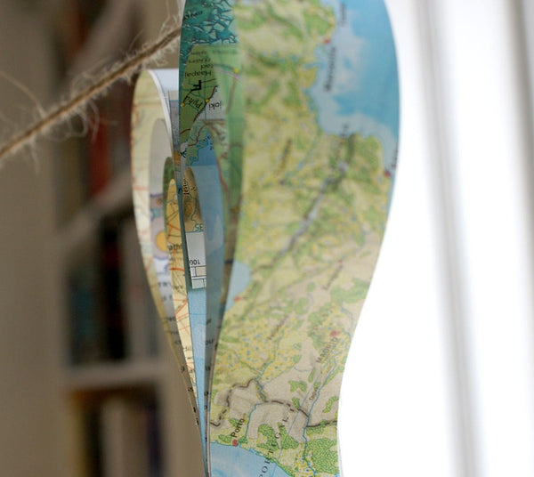 Map Garland, Travel, Journey Themed Party Idea, Blue Garland, Wedding Decorations