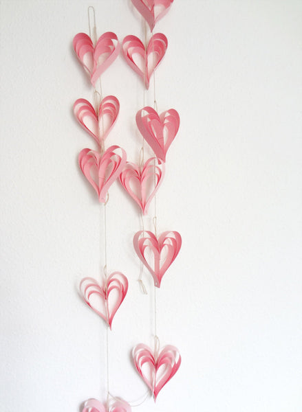 Valentine's Day Pink Heart Decorations Garland Wedding Decor Cottage Chic Paper