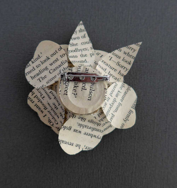 Book Brooch, Paper Flower