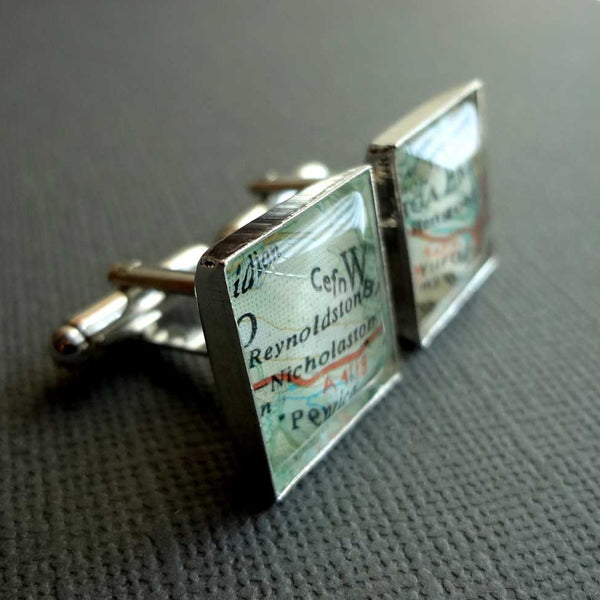 Square Silver Plated Cufflinks with Maps