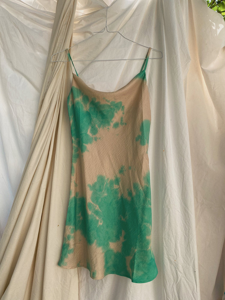 Sea Foam Green Tie Dye Satin Slip Dress