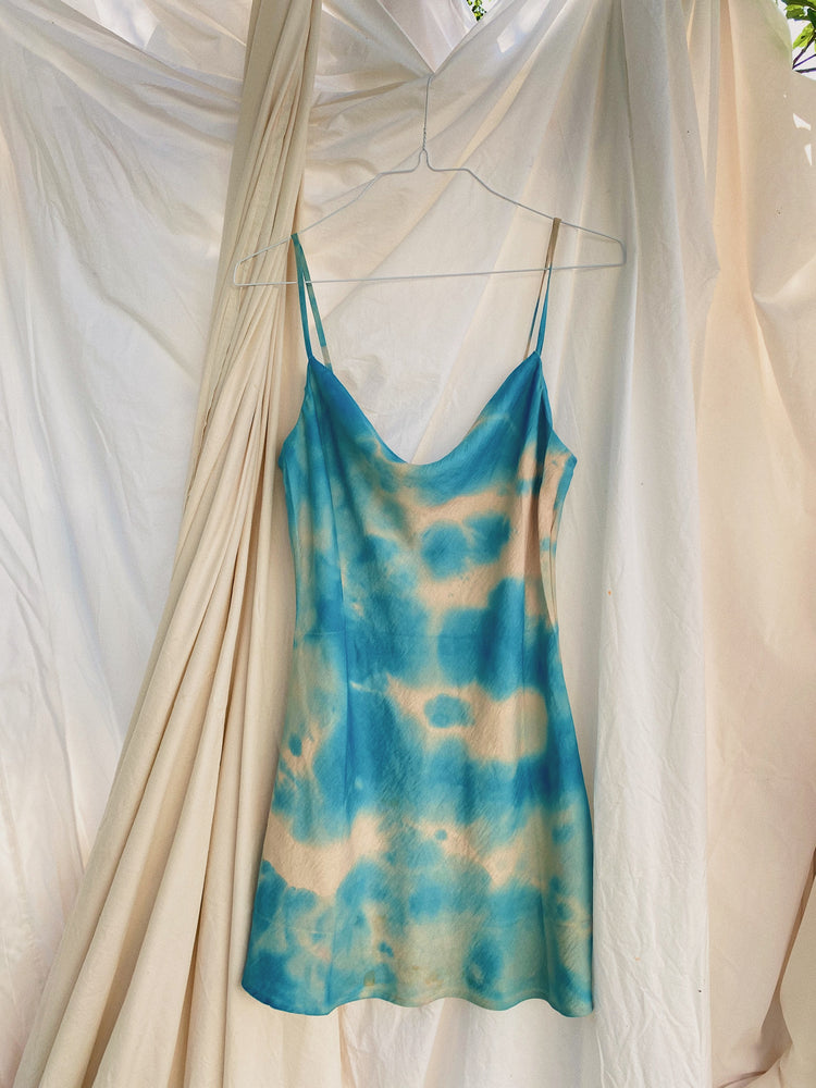 Blue Clouds Tie Dye Satin Slip Dress