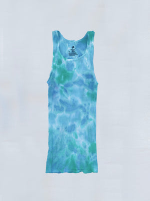 Load image into Gallery viewer, Blue + Teal Tie Dye Tank Top
