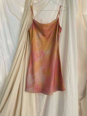 Sunset Tie Dye Satin Slip Dress