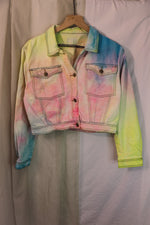 Cotton Candy Cropped Denim Jacket - Large