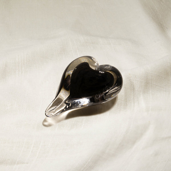 Black Color Infused Glass Heart