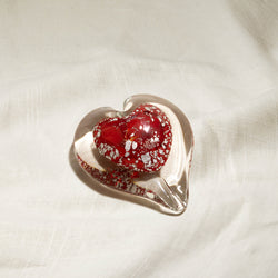 Red Color Infused Glass Heart