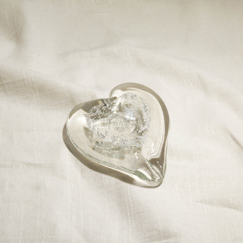 Silver Speckle Color Infused Glass Heart