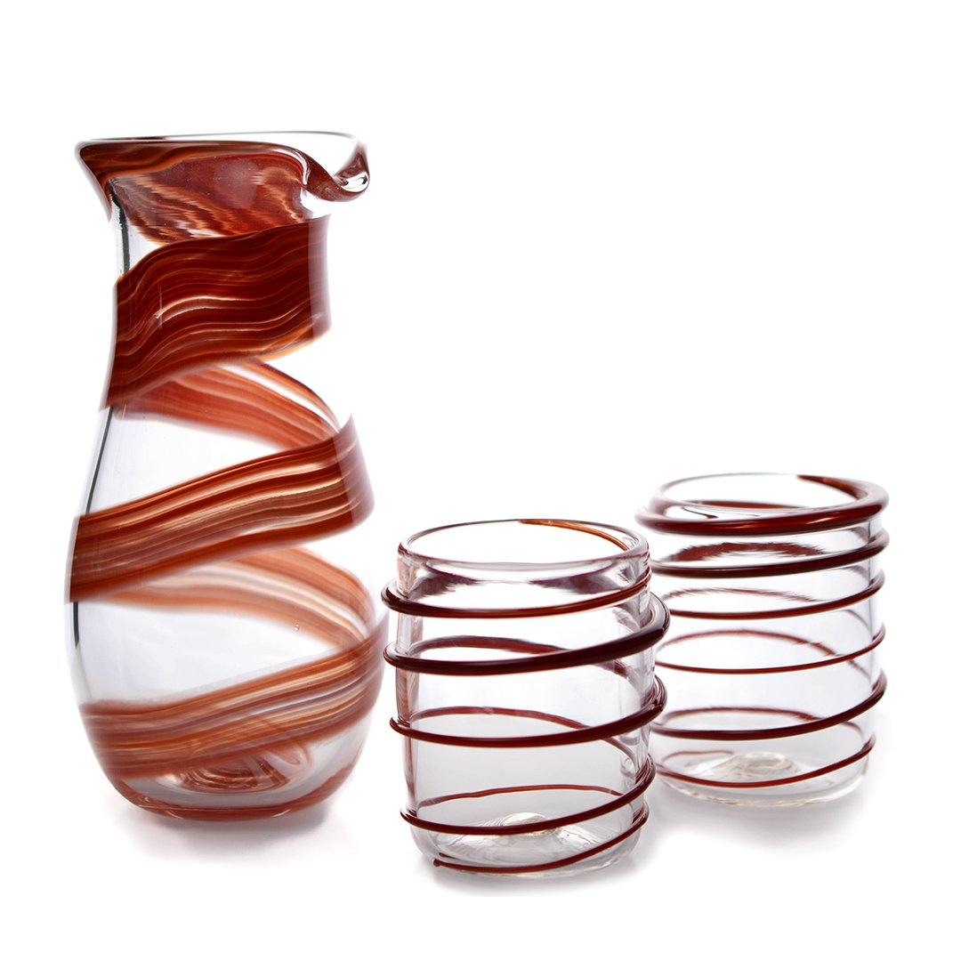 Red Ribbon Wrapped Carafe and Glass set