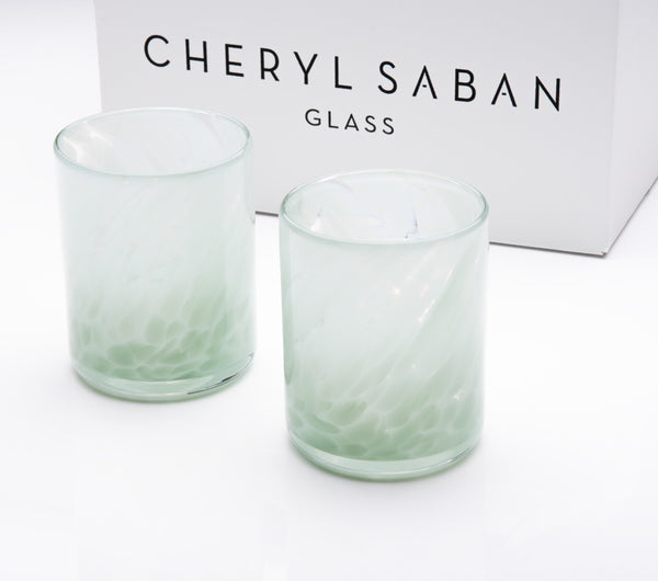 Opal Gray Blue Water Glass Set of 6