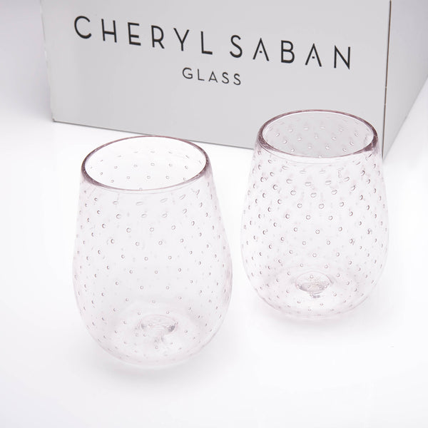 Violet Bubbled Wine Glass Set of 6