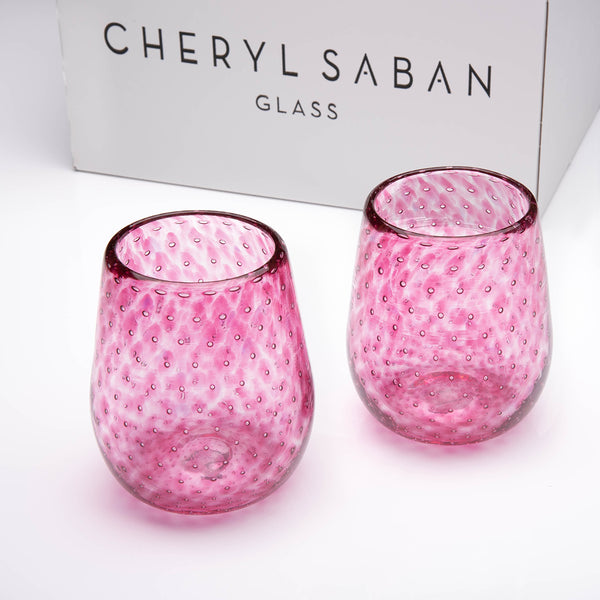 Cranberry Bubbled Wine Glass Set of 6
