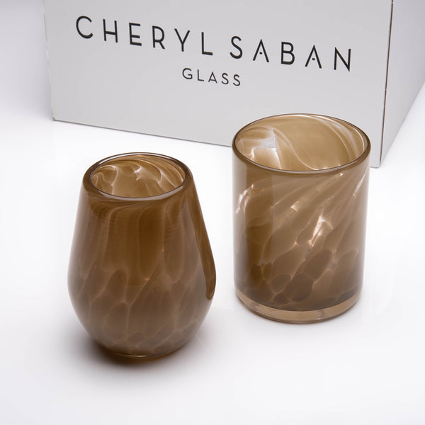 Sienna Brown Wine and Water Glass Set of 6