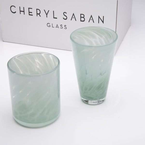 Opal Gray Blue Tumbler and Water Glass Set of 6