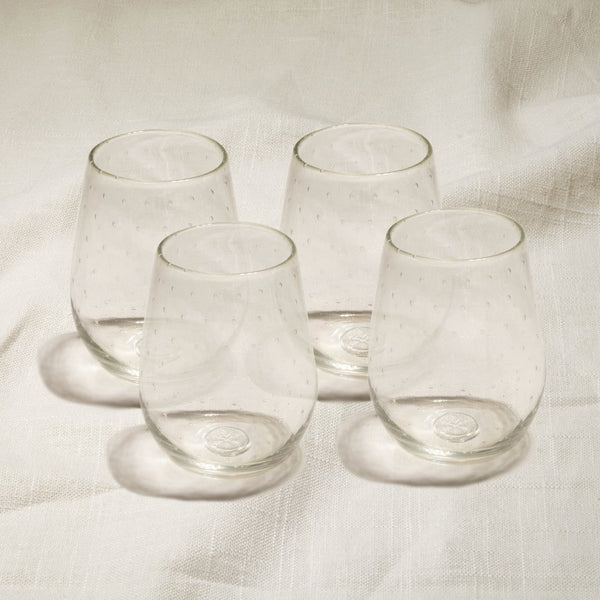 Clear Bubbled Stemless Wine Glasses Set of 4
