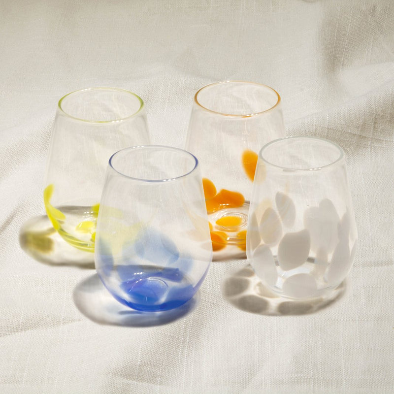 Primary Flurry Stemless Wine Glasses Set of 4