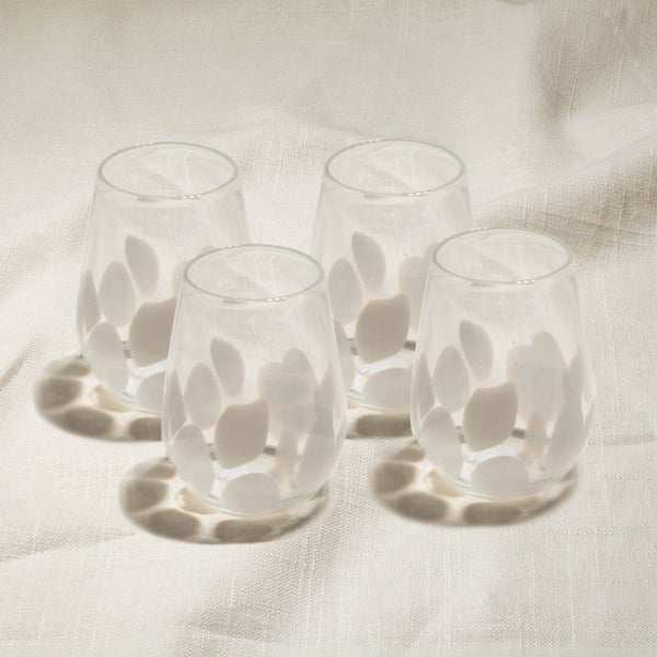 White Flurry Stemless Wine Glasses Set of 4