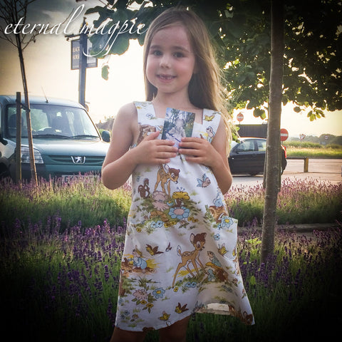 eternal magpie upcycled children's summer Bambi print dress