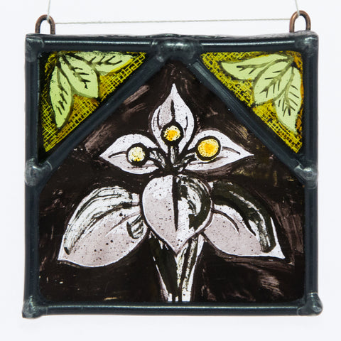Stained & painted glass white Fleur de lys with green leaves