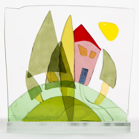 Bonded glass stylised house and trees