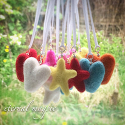 Wool felt aromatherapy diffuser hanging hearts & stars