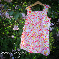 SOLD: Custom floral print dress, age 6
