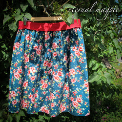 In stock: Upcycled floral print skirt, size 20-28