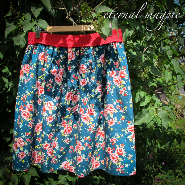 eternal magpie up cycled vintage style floral print skirt with pockets and elastic waist
