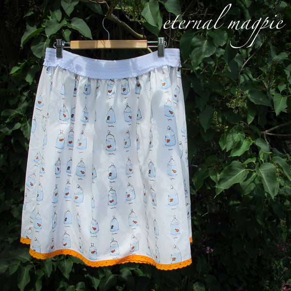 eternal magpie up cycled goldfish print skirt with pockets and elastic waist