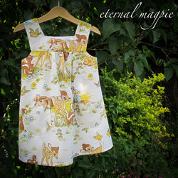 In stock: Child's upcycled white Bambi print dress, age 3 years