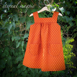 SOLD: Orange Fandango Shwe Shwe print dress, age 3-4