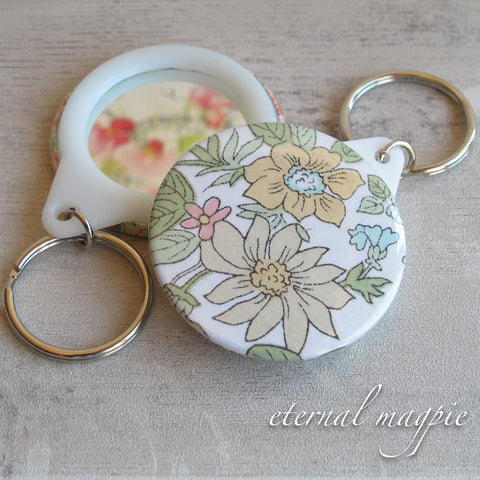Liberty print pocket mirror keyring