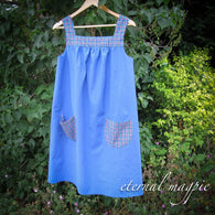 In stock: women's blue & check organic cotton dress, size 8-10