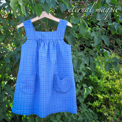 In stock: Child's blue check organic cotton and bamboo dress, age 4 years
