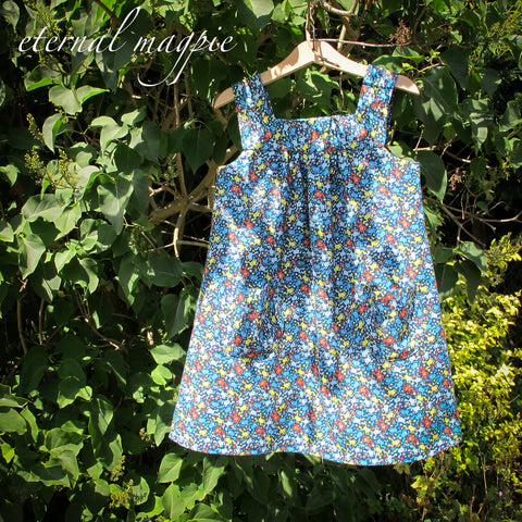 In stock: Child's blue frog print dress, age 5 years