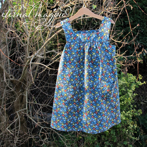 In stock: Child's blue frog print dress, age 6 years
